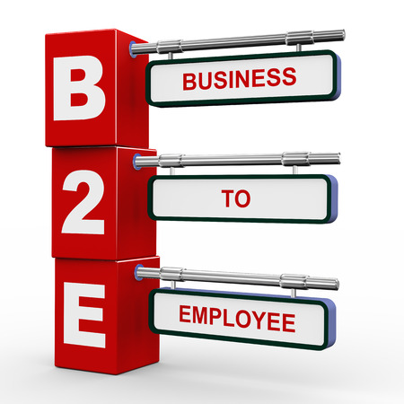 b2e: 3d illustration of modern roadsign cubes signpost of b2e - business to employee