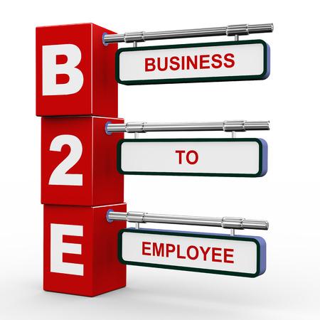 b2e: 3d illustration of modern roadsign cubes signpost of b2e - business to employee