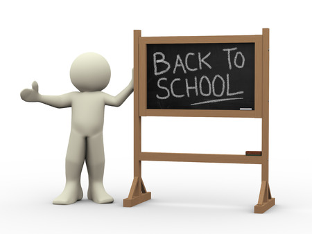 learning language: 3d render of person with chalkboard with text back to school  3d rendering of people - human character