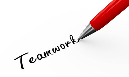 signing papers: 3d render of pen writing teamwork on white paper background