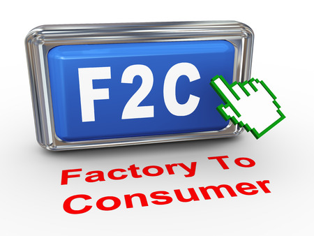 b2e: 3d render of hand cursor pointer click on button with phrase f2c factory to consumer