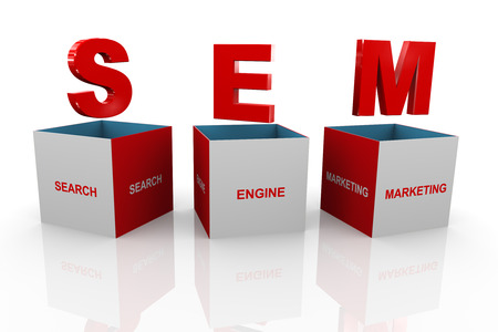 search engine optimized: 3d illustration of acronym Search Engine Marketing box Stock Photo