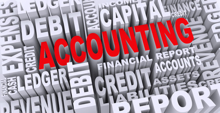 3d render of word tags wordcloud of concept of accounting photo