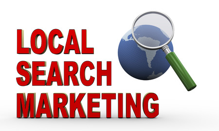 3d render of magnifying glass over globe and phrase representing concept of local search marketing  photo