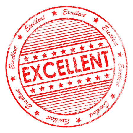Illustration of red grunge rubber stamp with the word excellent