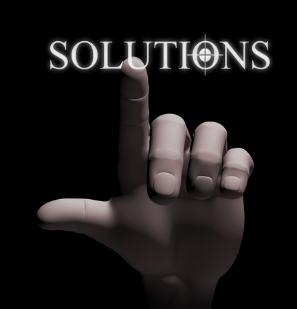 3d rendering of human hand finger touching word solution on a touch screen photo