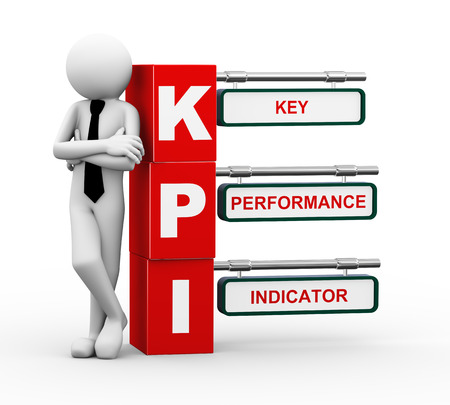 3d rendering of business person standing with kpi - key performance indicator signpost  3d white people man character 版權商用圖片 - 23463752