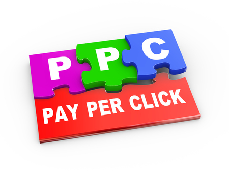 3d rendering of puzzle pieces presentation of ppc - pay per click Stock Photo - 23463769