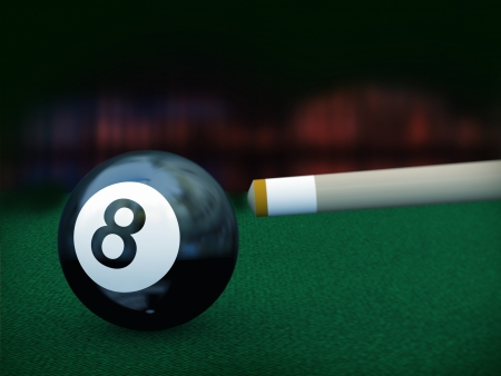 cue stick: 3d illustration of cue stick set for hitting billiard black eight cue ball