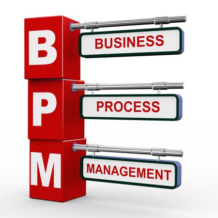 3d illustration of modern roadsign cubes signpost of bpm - business process management illustration