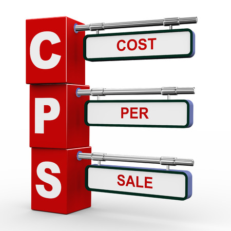 cpl: 3d illustration of modern roadsign cubes signpost of cps cost per sale