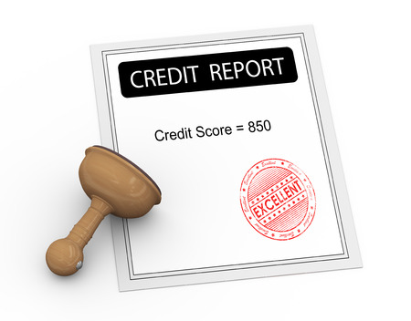 credit report: 3d illustration of credit score report with grunge excellent stamp and wooden rubber stamp