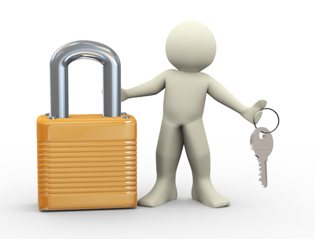 3d illustration of man with padlock holding keys illustration