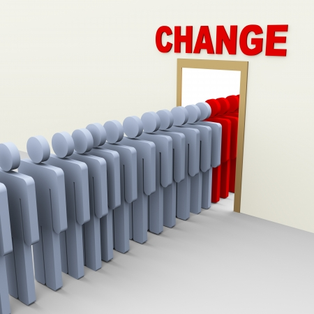 improving: 3d group of man step through door for change  Concept of change, adaption, innovation, growth, development