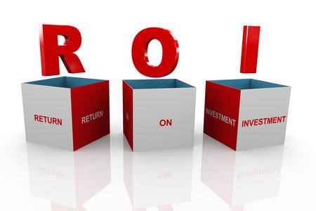acronym: 3d illustration of acronym roi return on investmentbox