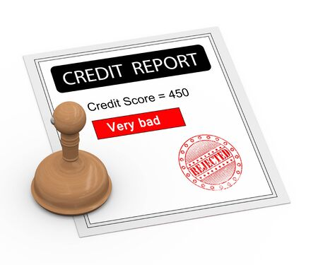 denied: 3d Illustration of rubber stamp of rejected and bad credit score report