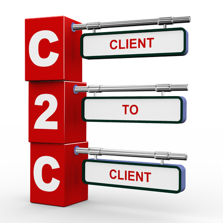 b2b: 3d illustration of modern roadsign cubes signpost of c2c client to client