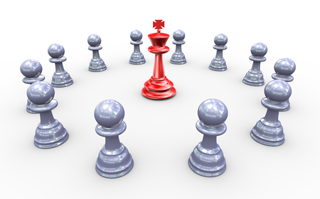 3d render of king chess peaces surround by followers photo