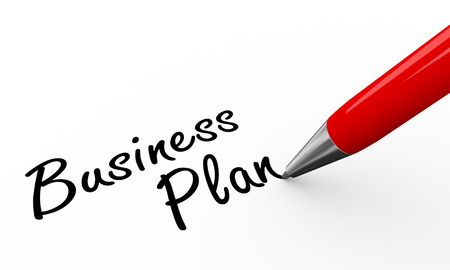 3d render of pen writing business plan on white paper background Stock Photo - 24035369
