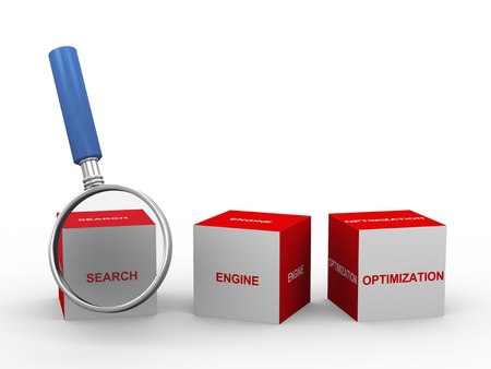 search engine optimized: 3d illustration of seo search engine optimization box and magnifying glass  Stock Photo
