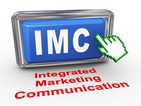 3d render of hand cursor pointer click on button with phrase imc - integrated marketing communication photo