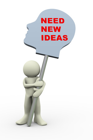 new idea: 3d illustration of person holding human head with phrase new new ideas.