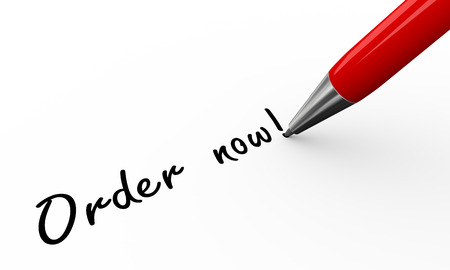 purchase order: 3d render of pen writing order now on white paper background