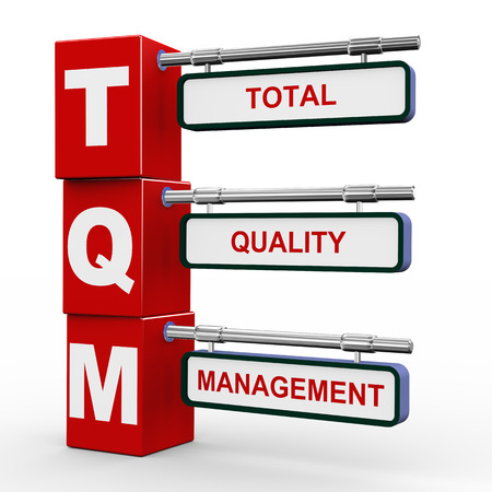 3d illustration of modern roadsign cubes signpost of  tqm - total quality management