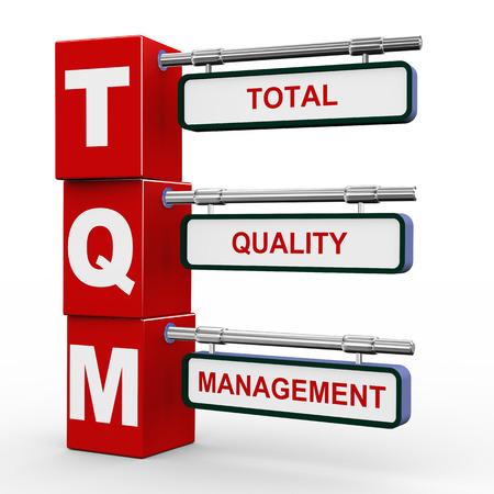 tqm - 総合的品質管理の近代的な道路標識キューブ道標の 3 d イラストレーション