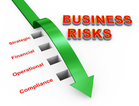 risk management: 3d illustration of arrow and various business risks. Concept of business risk management Stock Photo