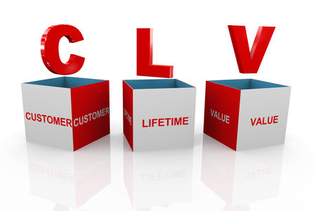 future advertising: 3d illustration of acronym clv customer lifetime value box