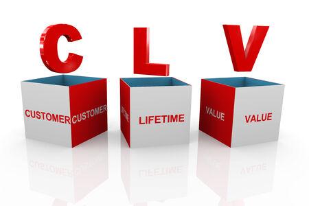 acronym: 3d illustration of acronym clv customer lifetime value box