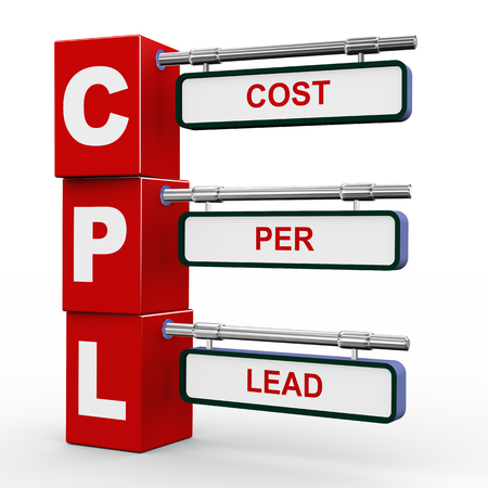 cpl: 3d illustration of modern roadsign cubes signpost of cpl - cost per lead