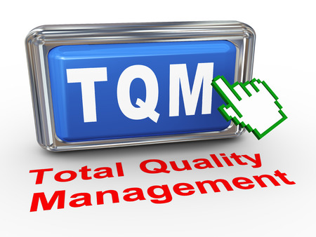 3d render of hand cursor pointer click on button with phrase tqm - total quality management photo