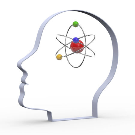 cartoon atom: 3d illustration of human heads with orbital atom. Stock Photo