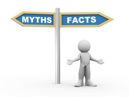 3d illustratie van de persoon en verkeersbord van feiten versus mythen. 3D-rendering van mensen - het menselijk karakter. Stockfoto