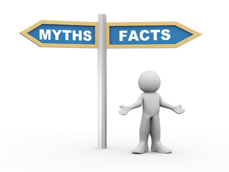 facts: 3d illustration of person and road sign of facts versus myths.  3d rendering of people - human character.