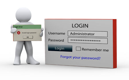 3d illustration of person standing with login window and holding invalid login password message. 3d rendering of people - human character. illustration