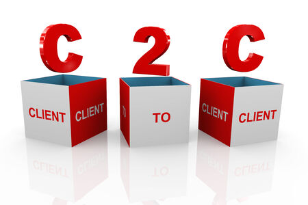 b2e: 3d illustration of acronym c2c - client to client box Stock Photo