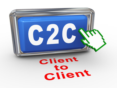 b2e: 3d render of hand cursor pointer click on button with phrase c2c - client to client