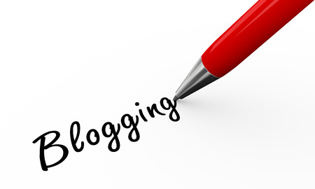 weblog: 3d render of pen writing blogging on white paper background