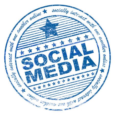 Illustration of grunge rubber stamp with phrase social media  illustration