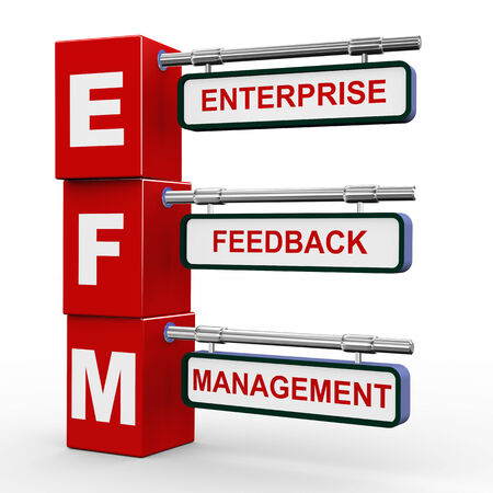3d illustration of modern roadsign cubes signpost of efm enterprise feedback management