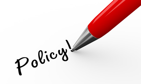 formal signature: 3d render of pen writing policy on white paper background Stock Photo