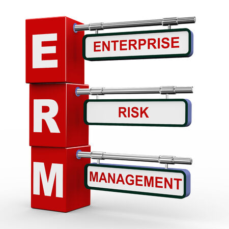 risk management: 3d illustration of modern roadsign cubes signpost of erm enterprise risk management