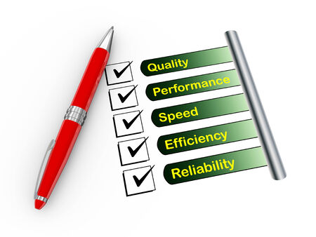 3d illustration of pen and check mark on quality, performance, speed, efficiency, reliability  illustration