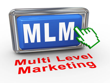 mlm: 3d render of hand cursor pointer click on button mlm - multi level marketing Stock Photo
