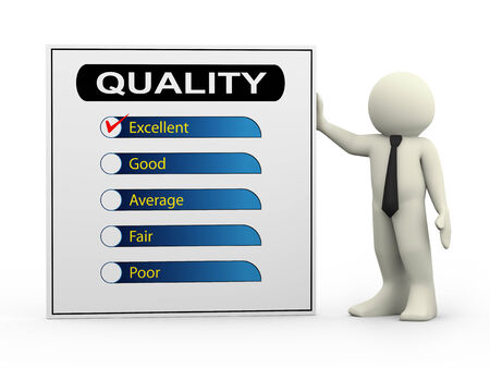 quality questions: 3d illustration of man with quality survey form check list with tick mark on excellent. Stock Photo