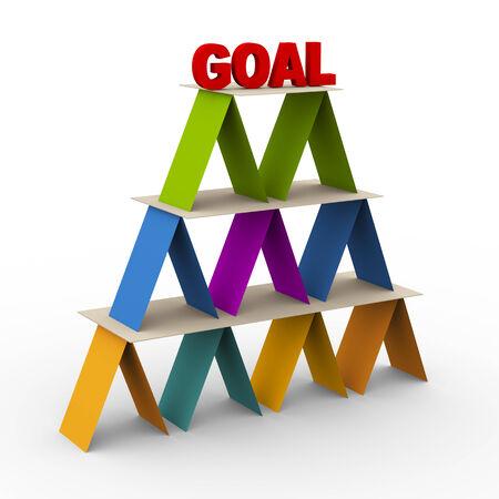 plan de accion: 3d de la pirámide de colores con meta de la palabra en la parte superior