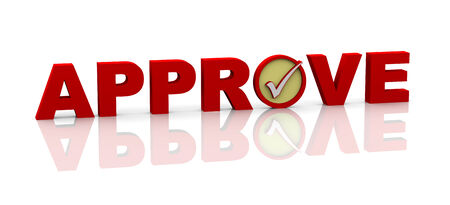 3d illustration of word approve with check mark illustration